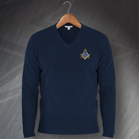 Masons Embroidered V-Neck Jumper
