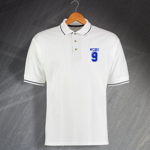 Rangers Football Polo Shirt Embroidered Contrast McCoist 9