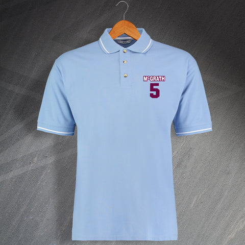 Villa Football Polo Shirt Embroidered Contrast McGrath 5