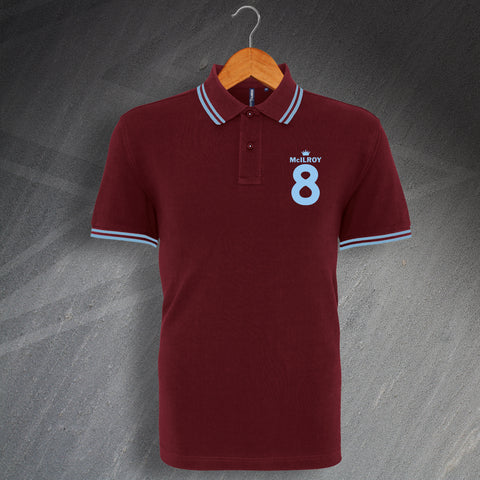 Burnley Football Polo Shirt Embroidered Tipped McIlroy 8