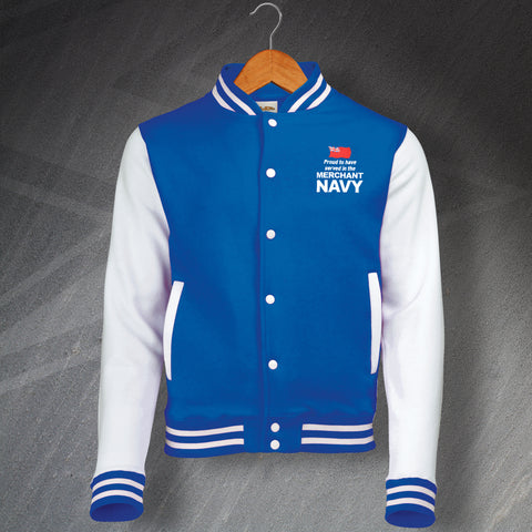 Merchant Navy Varsity Jacket Embroidered Proud to Have Served
