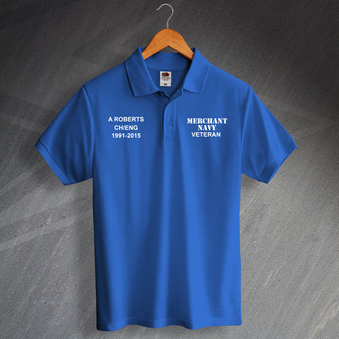Merchant Navy Veteran Printed Polo Shirt Personalised with Service Details