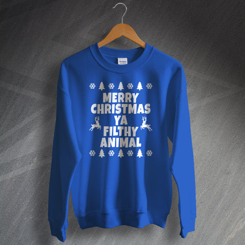 Christmas Sweatshirt Merry Christmas Ya Filthy Animal