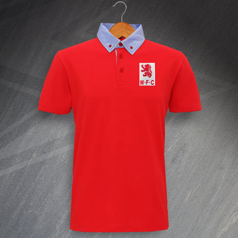 Middlesbrough Football Polo Shirt Embroidered Chambray Button 1973