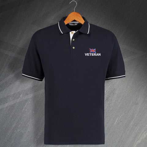 Veteran Polo Shirt Embroidered Contrast Choice of Flag or Motif
