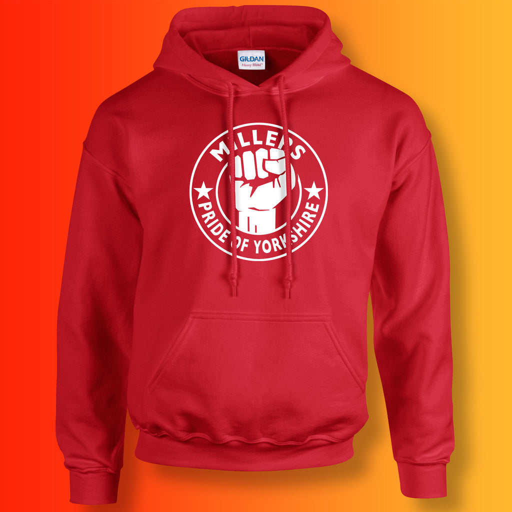 Millers Hoodie with The Pride of Yorkshire Design Red