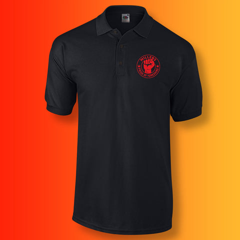 Millers Polo Shirt with The Pride of Yorkshire Design Black