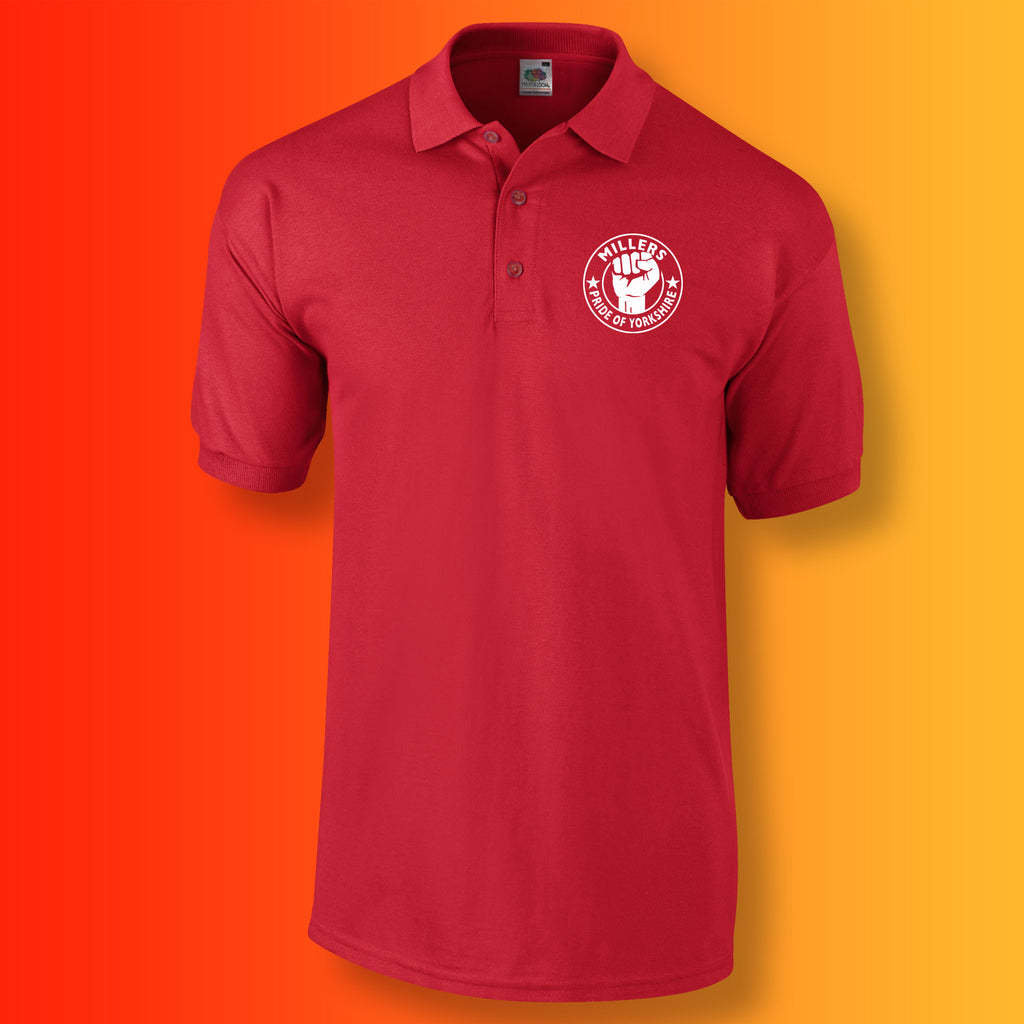 Millers Polo Shirt with The Pride of Yorkshire Design Red