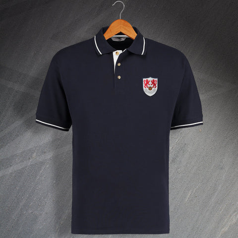 Retro Millwall 1956 Embroidered Contrast Polo Shirt