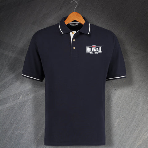 Millwall Football Polo Shirt Embroidered Contrast Millwall Till I Die