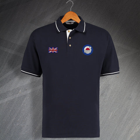British MOD Scene Contrast Polo Shirt with Choice of Embroidered Badges