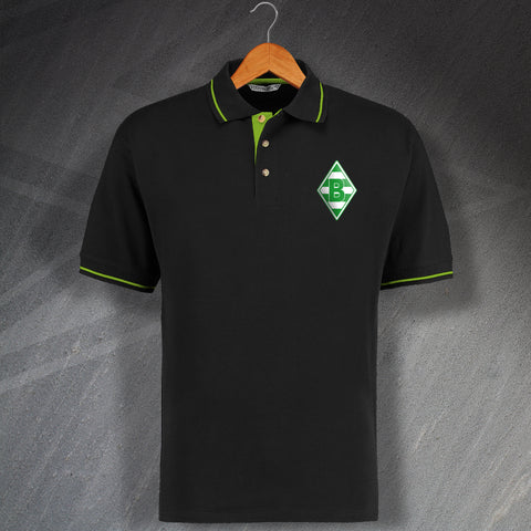 Monchengladbach Football Polo Shirt Embroidered Contrast 1970
