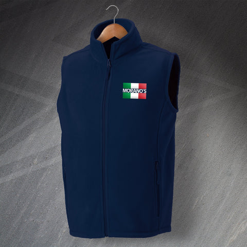 Moranos Pub Fleece Gilet Embroidered Flag of Italy