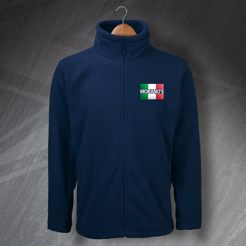 Moranos Pub Fleece Embroidered Flag of Italy