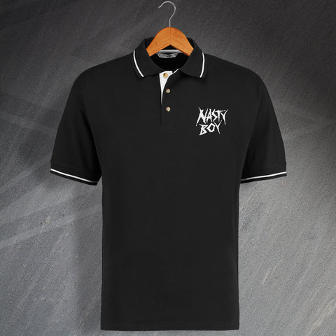 Nasty Boy Embroidered Contrast Polo Shirt