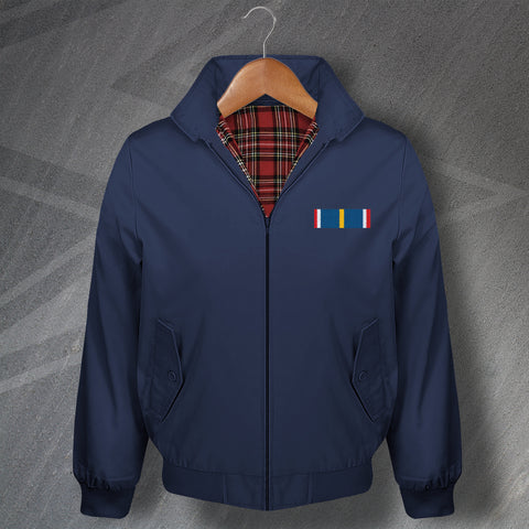 National Service Medal Bar Embroidered Classic Harrington Jacket