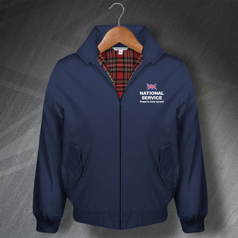 National Service Proud to Have Served Embroidered Classic Harrington Jacket