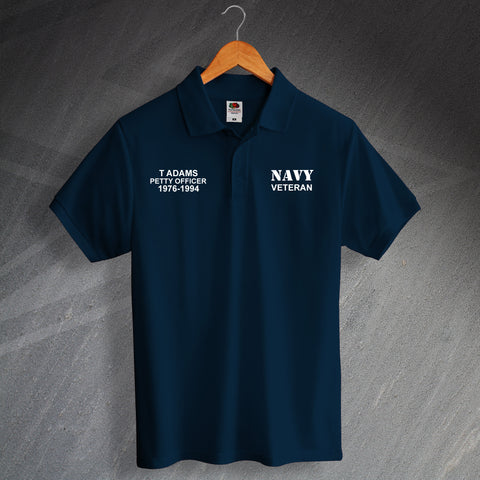 Navy Veteran Printed Polo Shirt Personalised with Service Details
