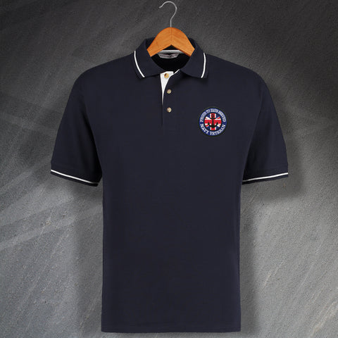 Proud to Have Served Navy Veteran Embroidered Contrast Polo Shirt