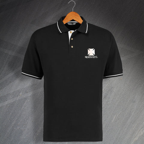 Retro Neath RFC Embroidered Contrast Polo Shirt