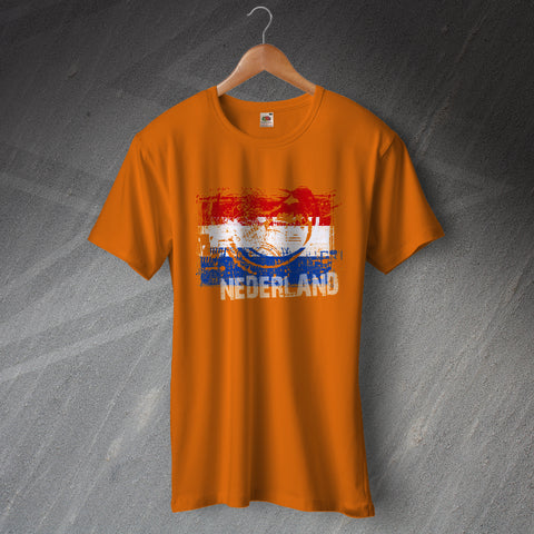 Netherlands Football T-Shirt Grunge Flag of the Netherlands