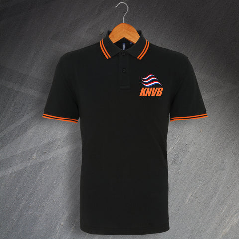 Netherlands Football Polo Shirt Embroidered Tipped KNVB