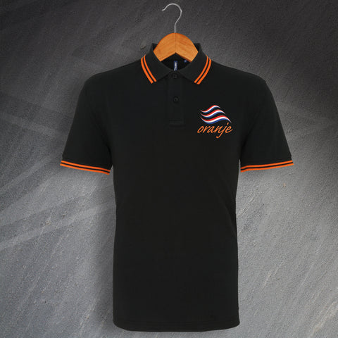 Netherlands Football Polo Shirt Embroidered Tipped Oranje