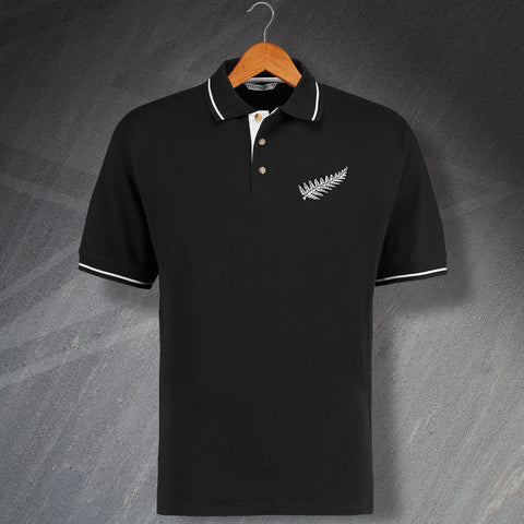 Retro New Zealand Embroidered Contrast Rugby Polo Shirt