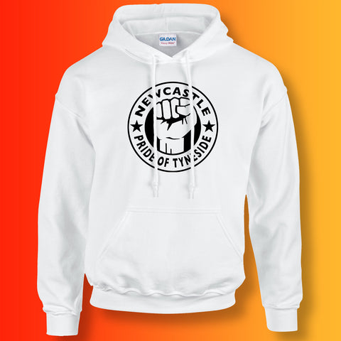 Newcastle Hoodie with The Pride of Tyneside Design White