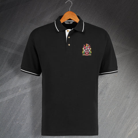 Newcastle Football Polo Shirt Embroidered Contrast 1969