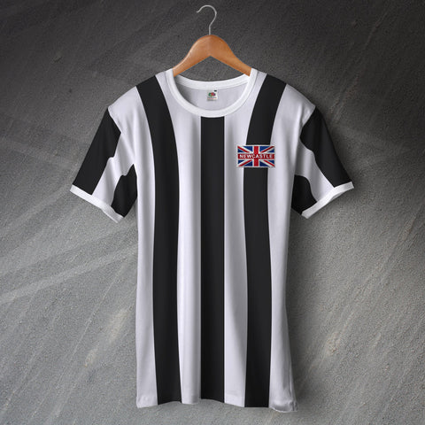 Newcastle Football Shirt Embroidered Ringer Union Jack