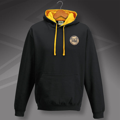 Retro Newport Contrast Hoodie with Embroidered Badge