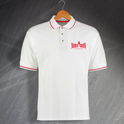Norn Iron It's a Way of Life Embroidered Contrast Polo Shirt