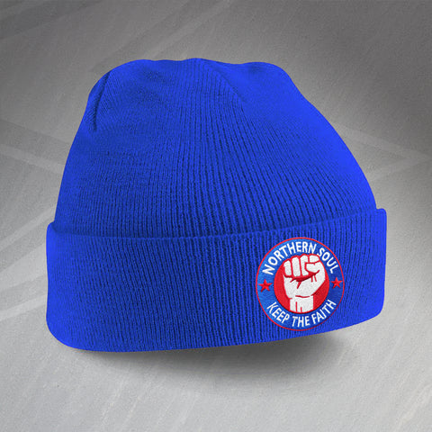Northern Soul Beanie Hat Embroidered Keep The Faith