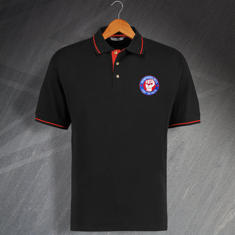 Northern Soul Polo Shirt Embroidered Contrast Keep The Faith