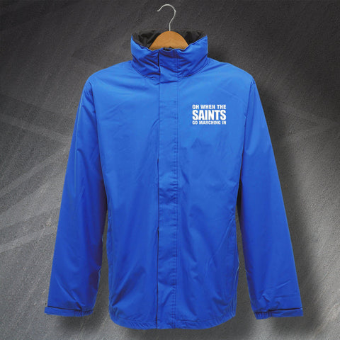 St Johnstone Football Jacket Embroidered Waterproof Oh When The Saints Go Marching In