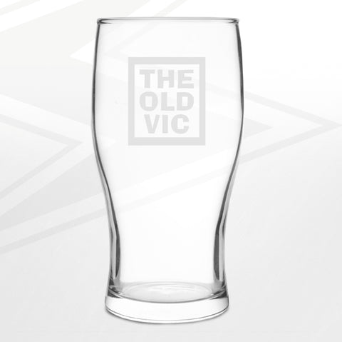 The Old Vic Pub Pint Glass Engraved