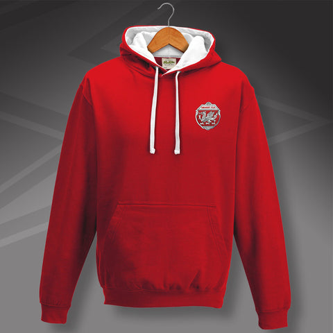 Retro Orient Contrast Hoodie with Embroidered Badge