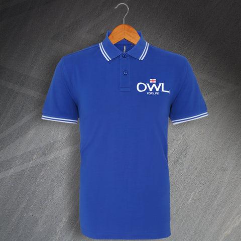 Sheffield Wednesday Football Polo Shirt Embroidered Tipped Owl for Life