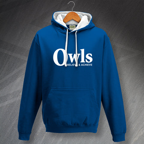 Sheffield Wednesday Football Hoodie Contrast Owls Believe & Achieve