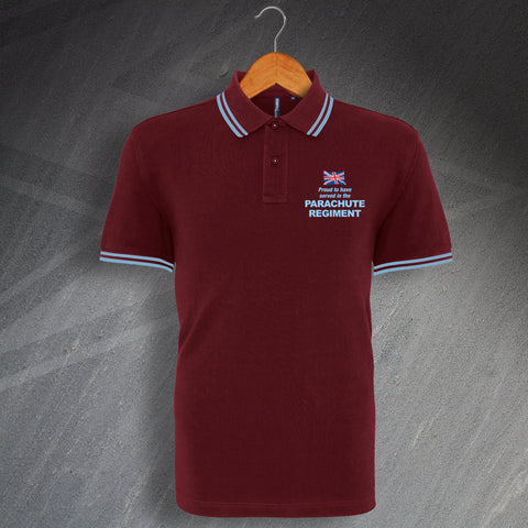 Parachute Regiment Polo Shirt Embroidered Tipped Proud to Have Served