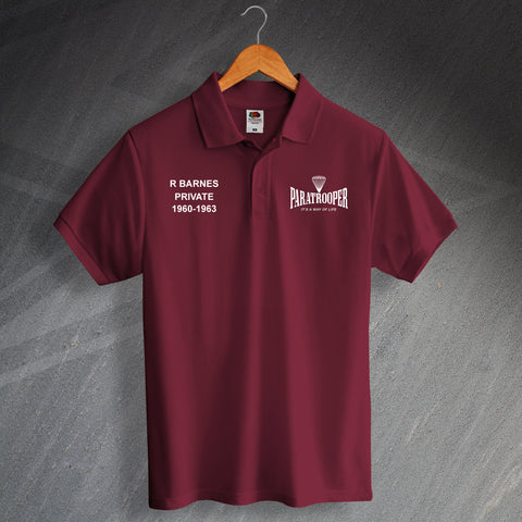 Paratrooper Polo Shirt Printed Personalised It's a Way of Life