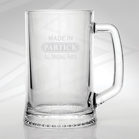 Partick Glass Tankard Engraved Made in Partick All Original Parts