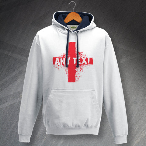 Personalised England Contrast Hoodie with Any Team, Place or Word