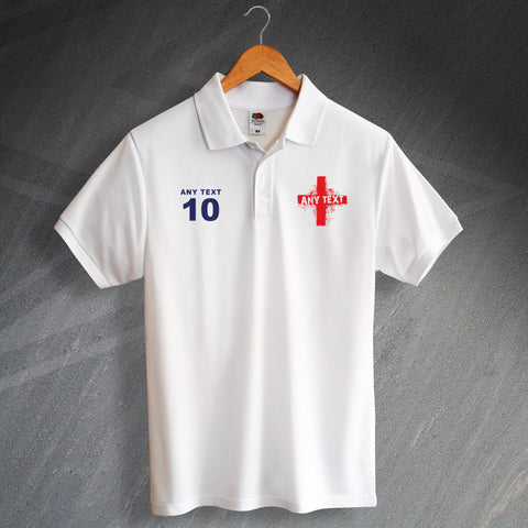 England Football Polo Shirt Printed Personalised Grunge Flag of England