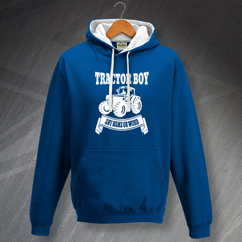 Ipswich Football Hoodie Personalised Contrast Tractor Boy
