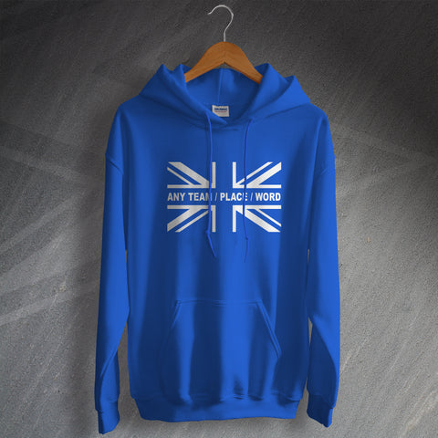 Personalised Union Jack Flag Hoodie with Any Team, Place or Word & Number and Name