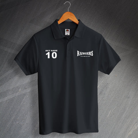 It's a Way of Life Printed Polo Shirt with any Team, Nickname or Word, Number & Name