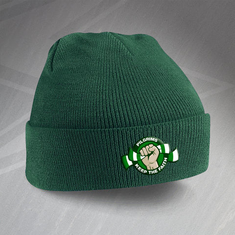 Plymouth Football Beanie Hat Embroidered Pilgrims Keep The Faith