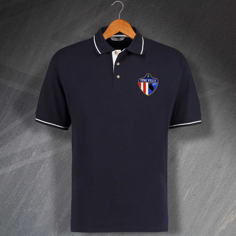 Retro Pine Villa Embroidered Contrast Polo Shirt